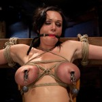 Big titted girl in her first ever hardcore bondage shoot